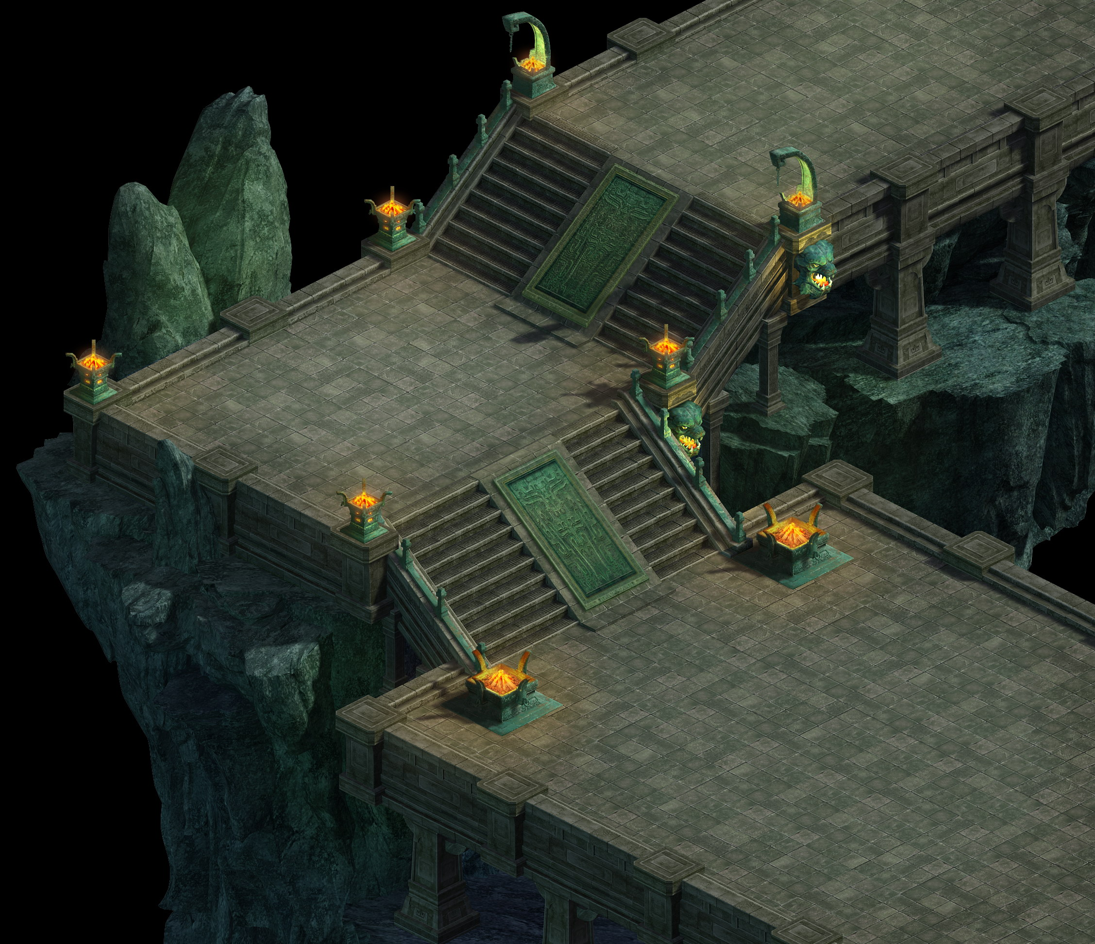 Game model - a large underground downstairs Gung Ho Area staircase