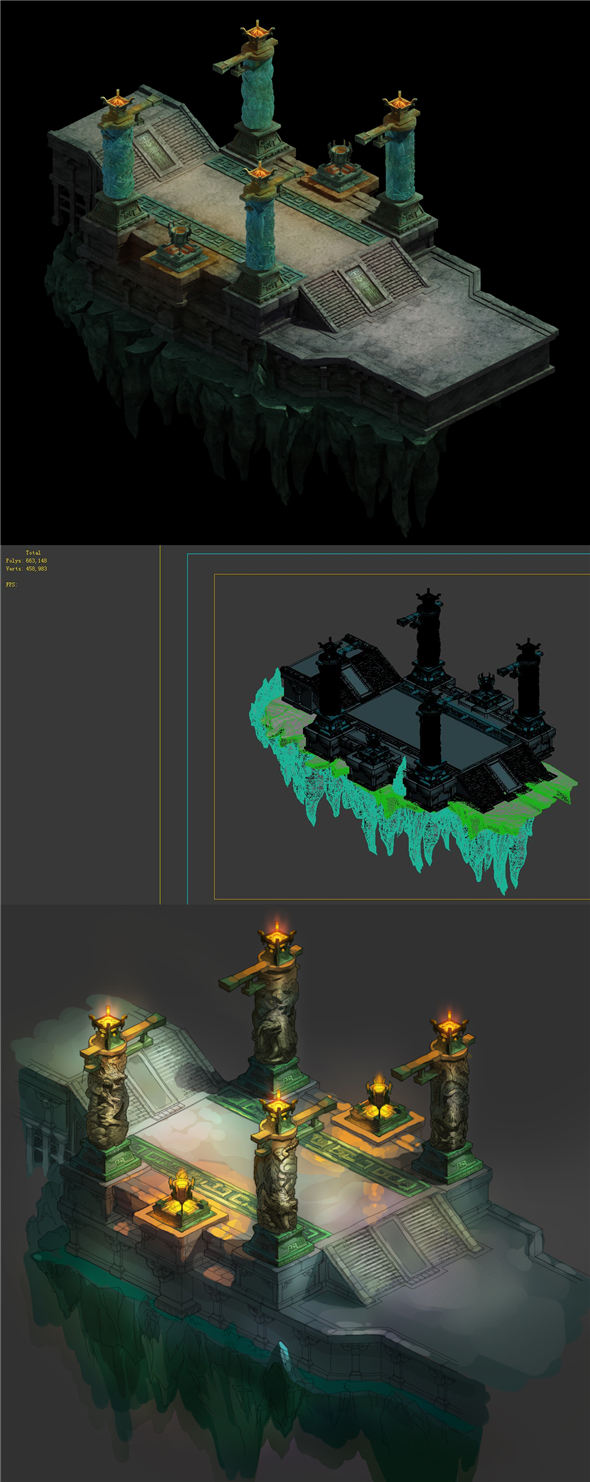 Game model - the third floor of the underground palace area entrance - 3DOcean Item for Sale