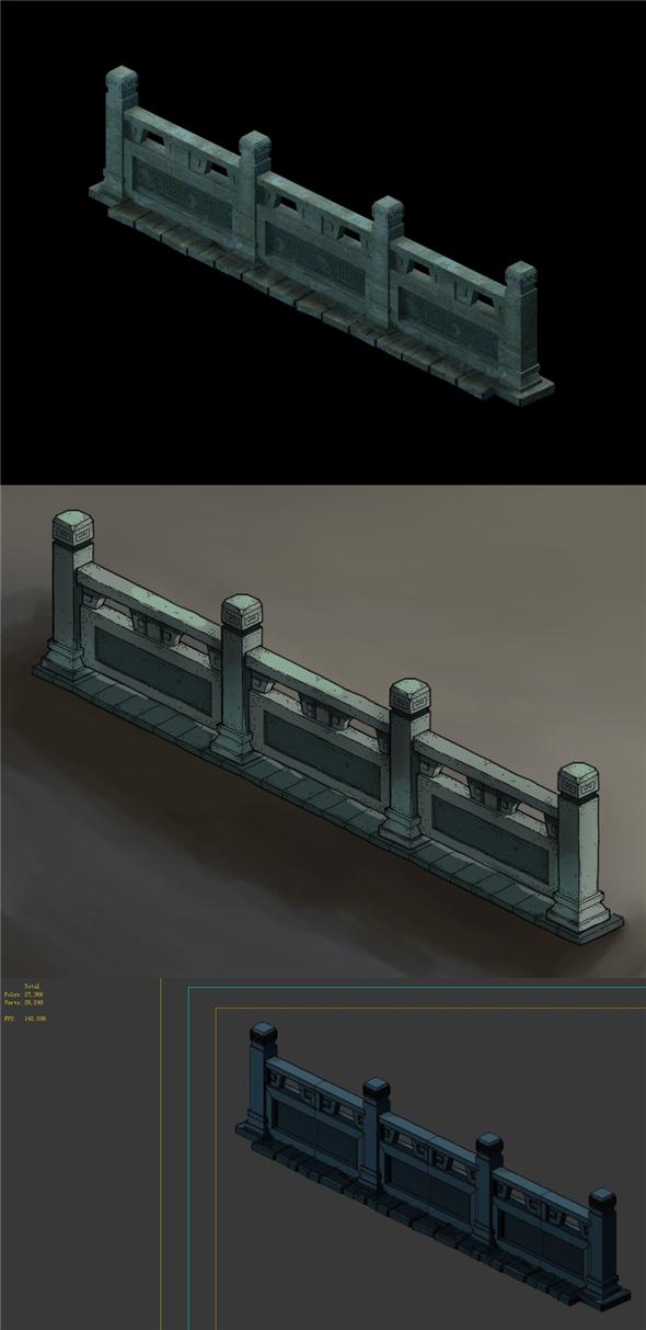 Game Model - Underground Palace Platform fence - 3DOcean Item for Sale
