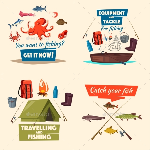 Fishing Icon Set with Boat, Tackle and Fish Catch - Sports/Activity Conceptual