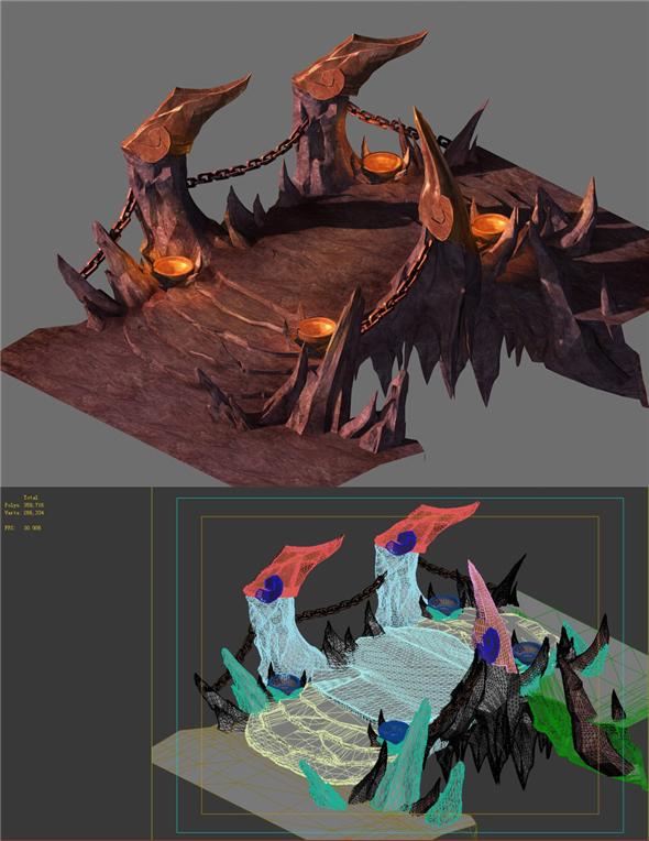 Game Model - Hell Stone Bridge - 3DOcean Item for Sale