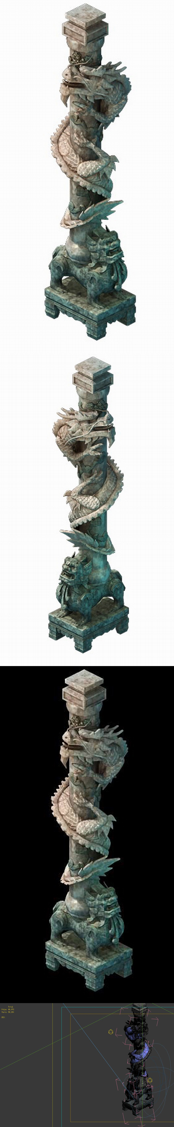 Game Model - Tombstone Dragon Shaped Pillar 01 - 3DOcean Item for Sale