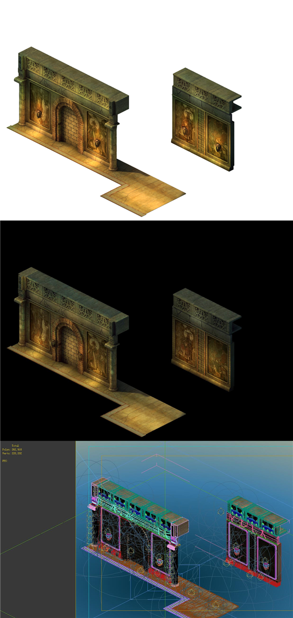 Game Model - Ancient tomb wall 011 - 3DOcean Item for Sale