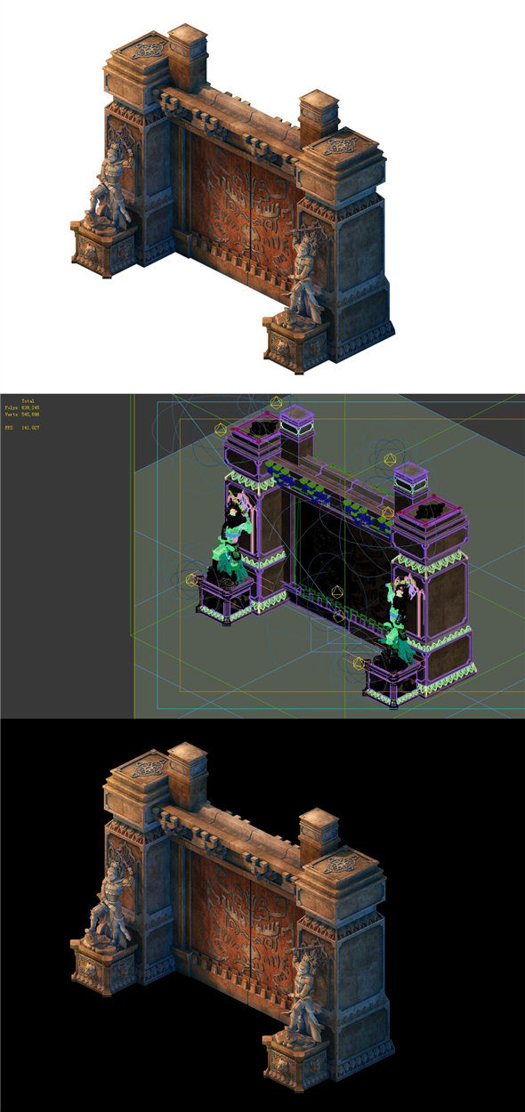 Game model - the tomb stone carving door - 3DOcean Item for Sale