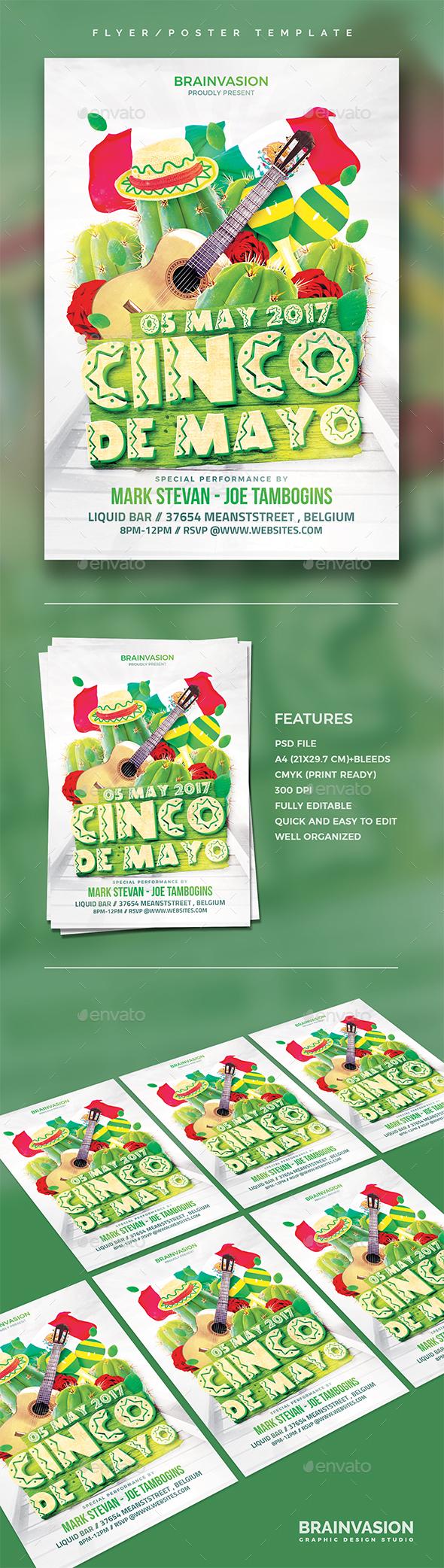 Cinco De Mayo Flyer Template - Holidays Events
