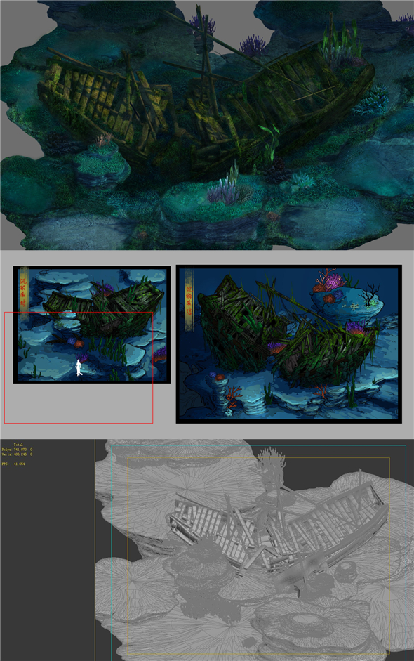 Game Model - Undersea Shipwreck -01 - 3DOcean Item for Sale