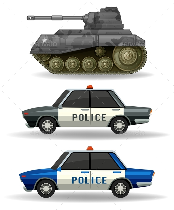 Police Cars and Military Tank - Man-made Objects Objects
