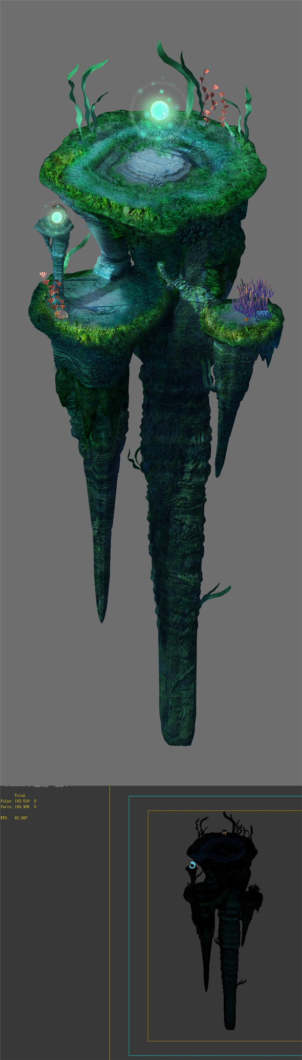 Game model - undersea - huge rock pillar - 3DOcean Item for Sale