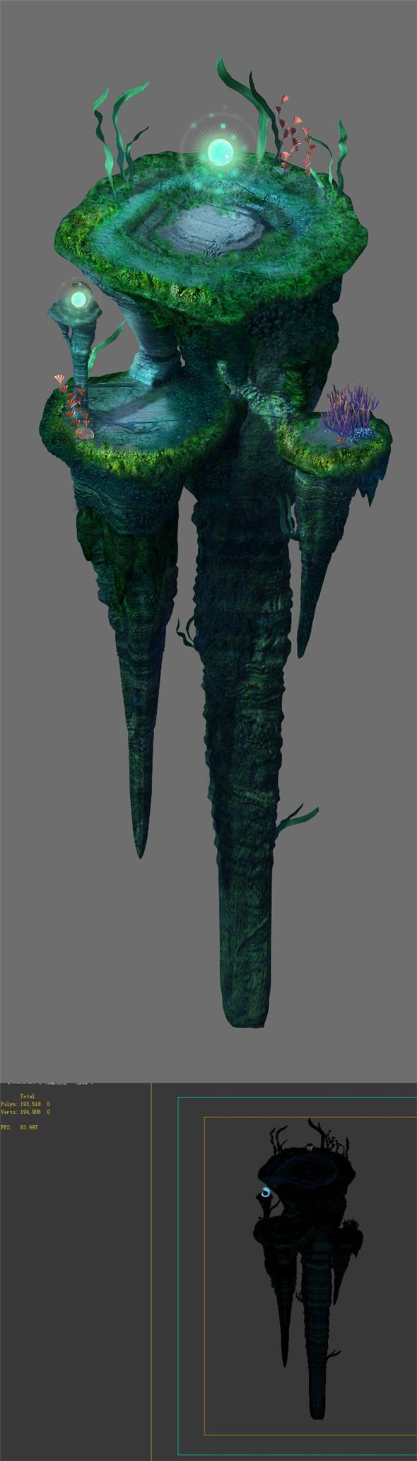 Game model - undersea - huge rock pillar - 3DOcean Item for Sale