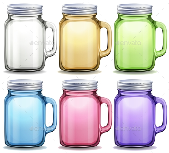 Glass Jars in Six Different Colors - Objects Vectors