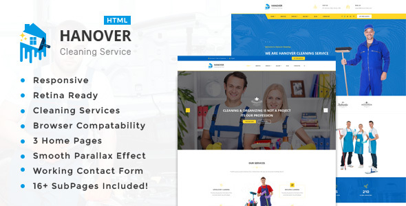 Hanover : Cleaning Service Responsive HTML5 Template