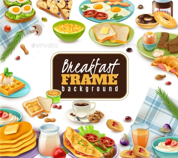 Breakfast Frame Background - Food Objects