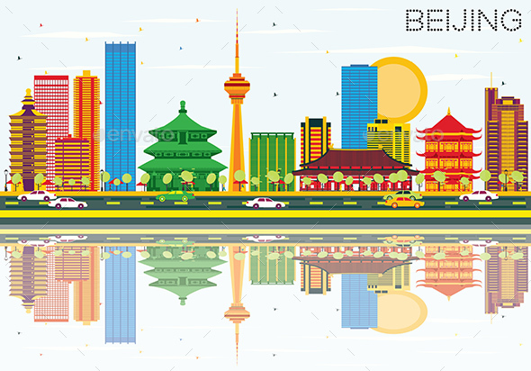 Beijing Skyline with Color Buildings, Blue Sky and Reflections. - Buildings Objects