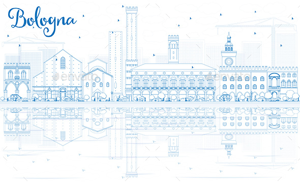 Outline Bologna Skyline with Blue Landmarks and Reflections. - Buildings Objects