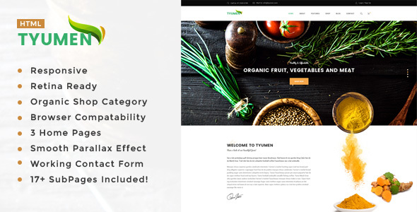Tyumen - Organic Food, Agriculture, Farm Services and Beauty Products HTML Template