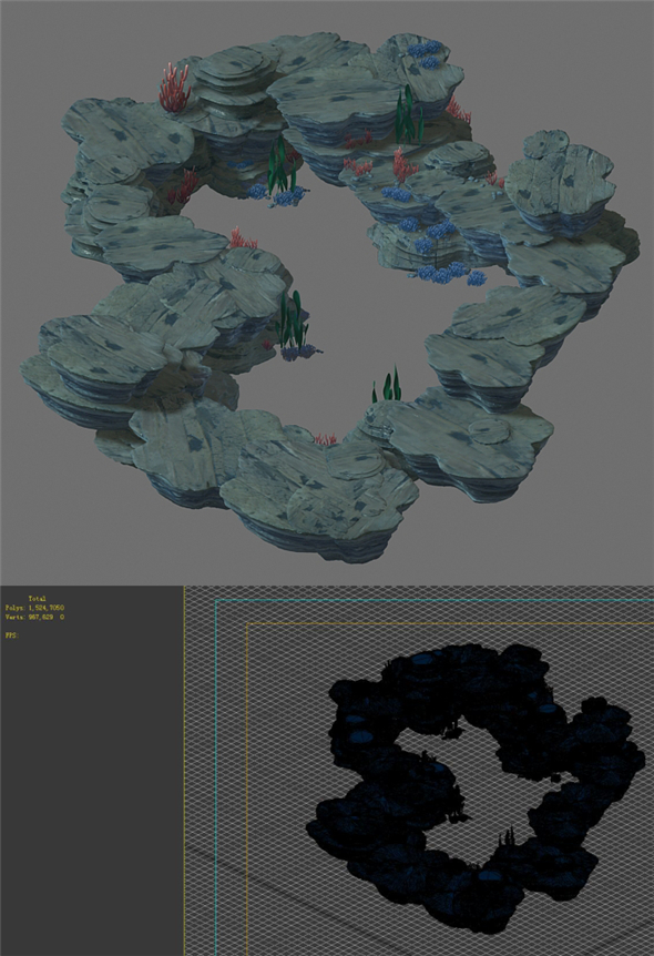 Game Model - Seabed Cliff 2 - 3DOcean Item for Sale