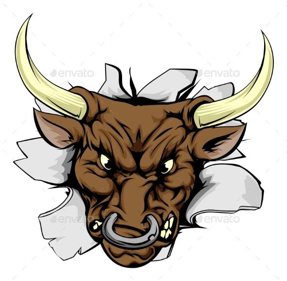 Bull Charging Through Wall - Animals Characters