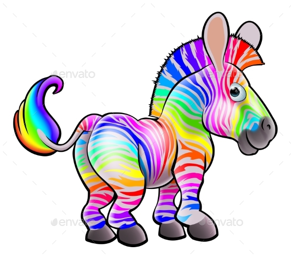Cartoon Rainbow Zebra - Animals Characters
