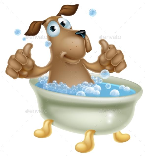 Cartoon Dog in Bubble Bath - Animals Characters