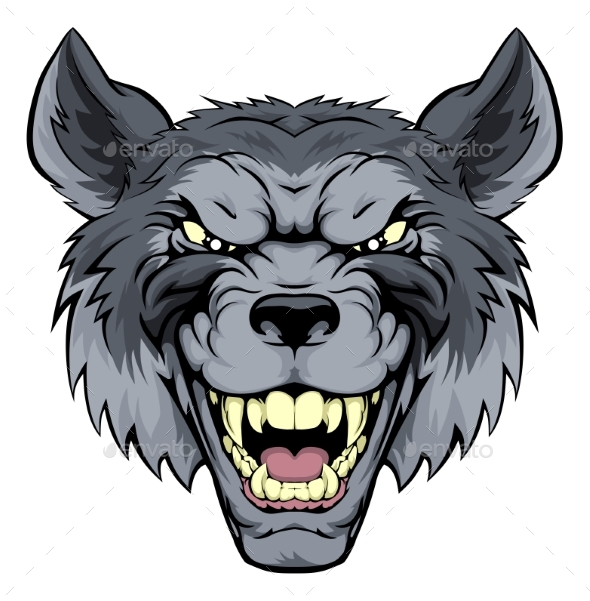 Mean Wolf Mascot - Animals Characters