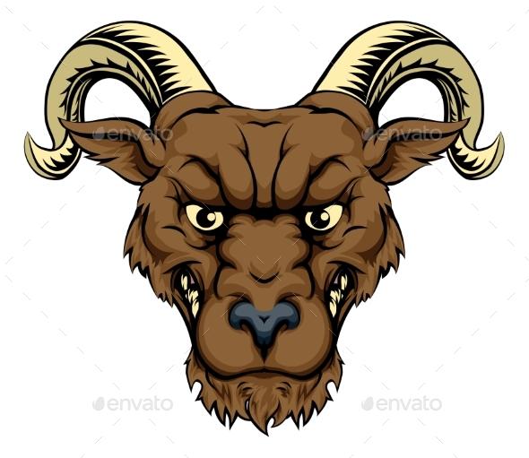 Ram Mascot Head - Animals Characters