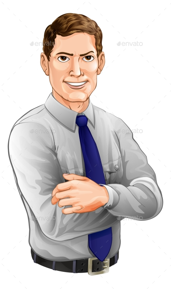 Handsome Man with Arms Folded - People Characters