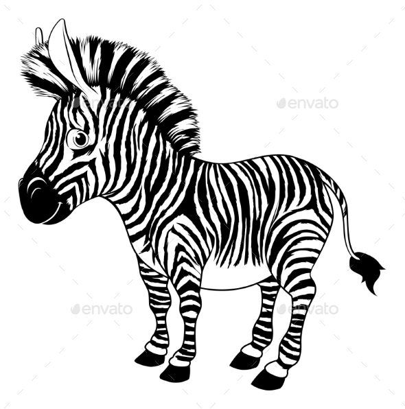 Black and White Cartoon Zebra - Animals Characters