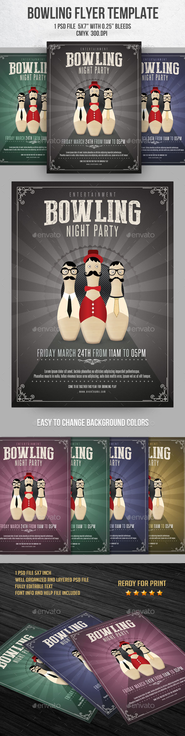 Bowling Night Flyer Template - Flyers Print Templates