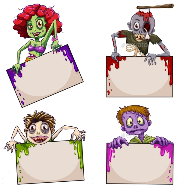 Zombies with Empty Signboards - People Characters