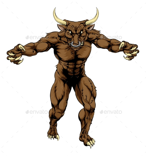 Minotaur Bull Scary Sports Mascot - Animals Characters
