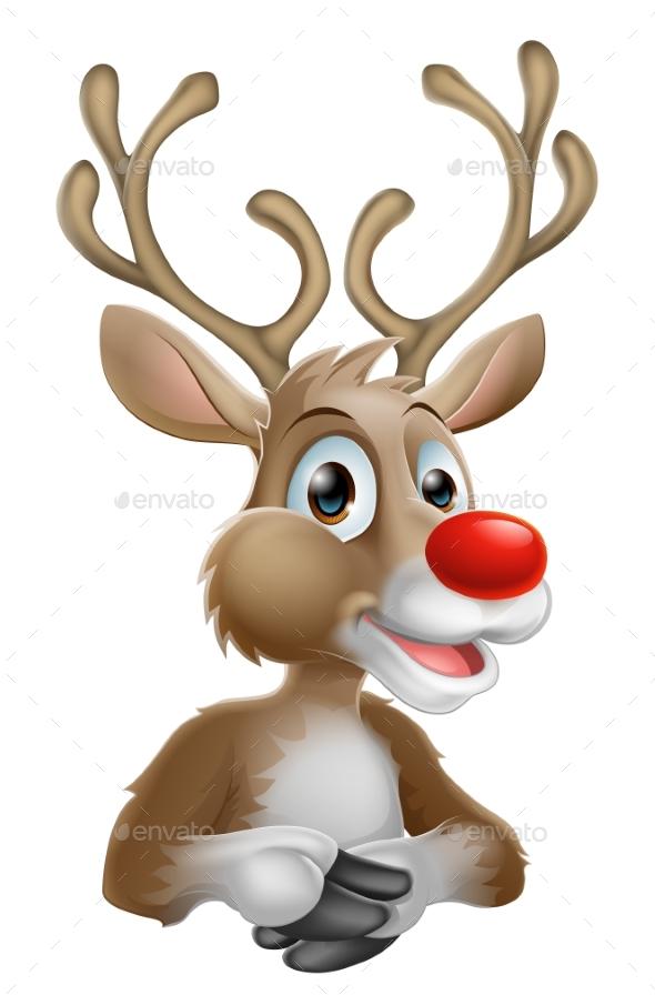 Christmas Cartoon Reindeer - Christmas Seasons/Holidays