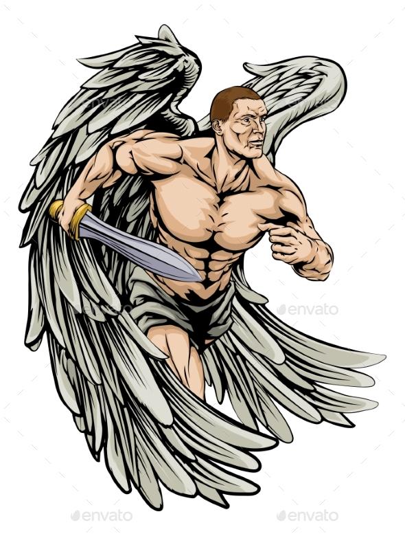 Warrior Angel Mascot - People Characters