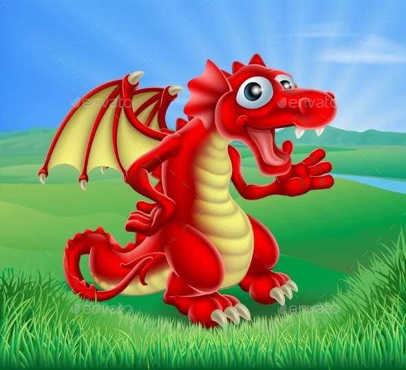 Cartoon Red Dragon Scene - Animals Characters
