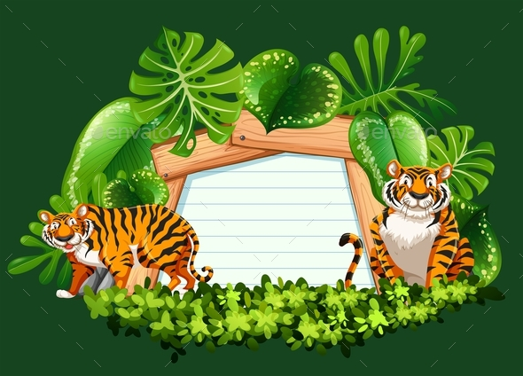 Frame Template with Wild Tigers - Flowers & Plants Nature