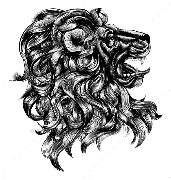 Vintage Woodblock Style Lion - Animals Characters