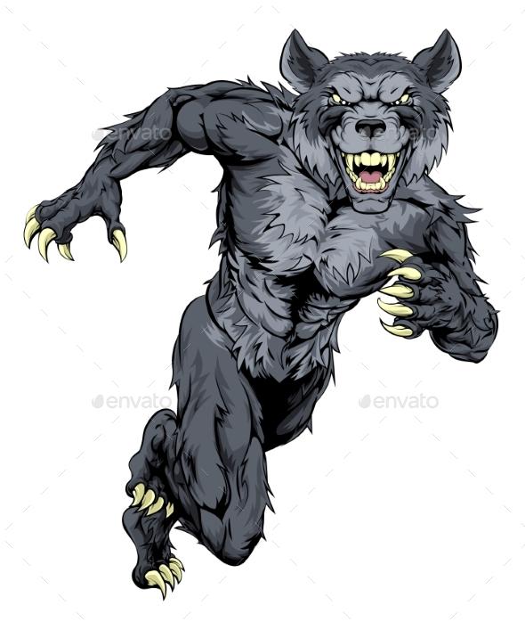 Running Wolf Mascot - Animals Characters