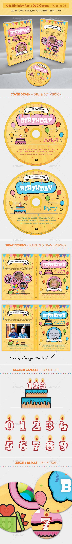 Kids Birthday Party DVD Covers - Volume 03 - CD & DVD Artwork Print Templates