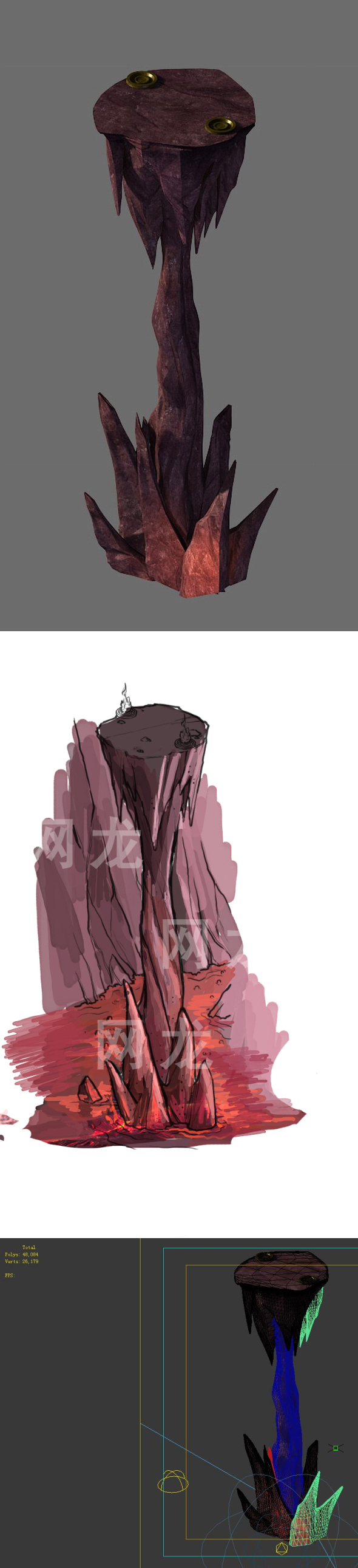 Game model - the stone pillars in the volcano cave - 3DOcean Item for Sale