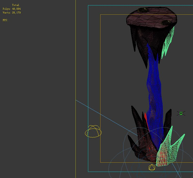 Game model - the stone pillars in the volcano cave
