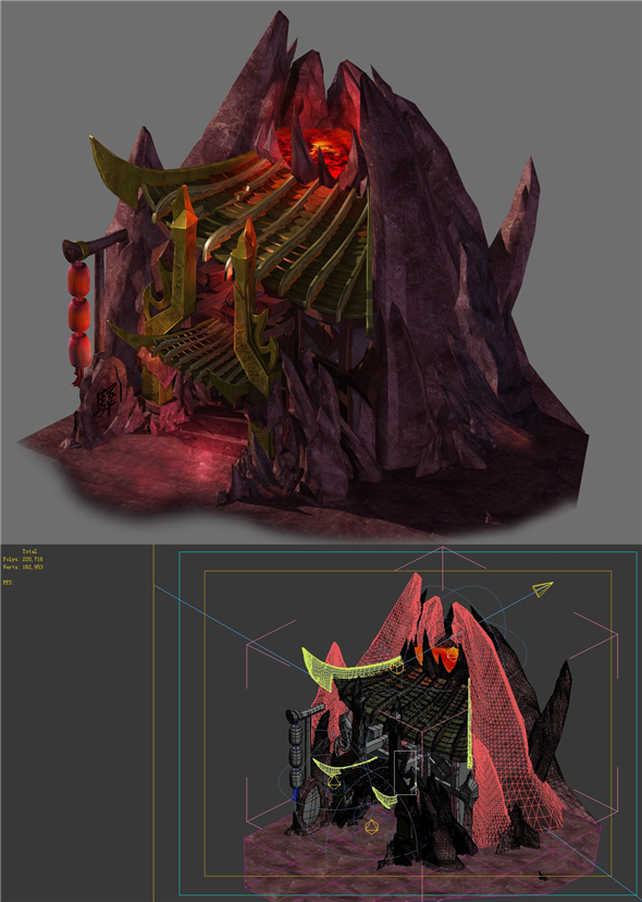 Game model - the house in the volcano - 3DOcean Item for Sale