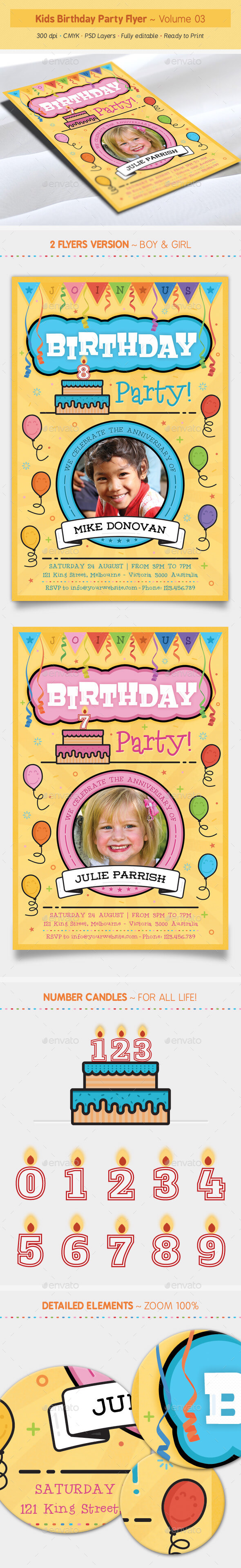 Kids Birthday Party Flyer - Volume 03 - Clubs & Parties Events