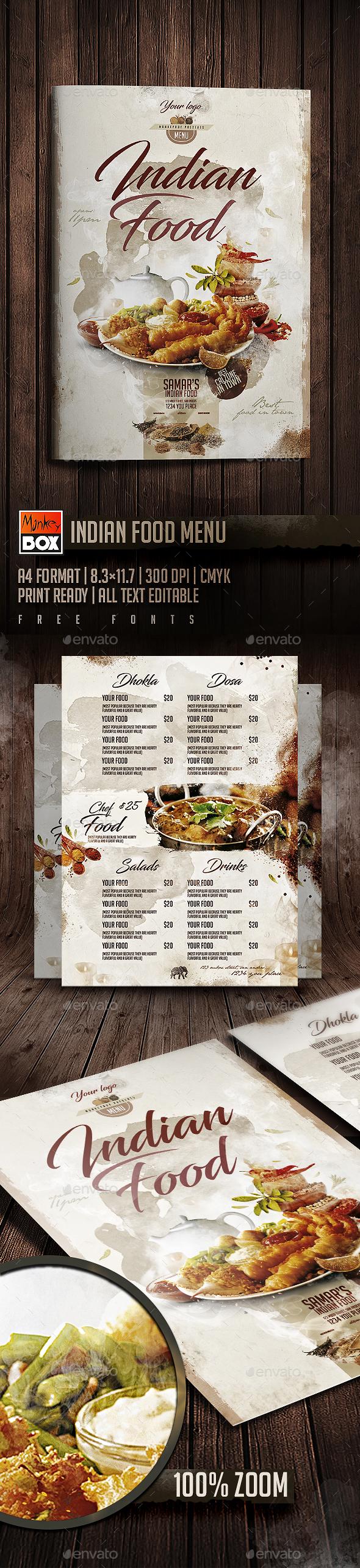 Indian Food Menu - Food Menus Print Templates