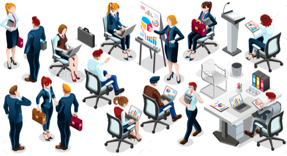 Isometric People Sale Interview 3D Icon Set Vector Illustration - Vectors