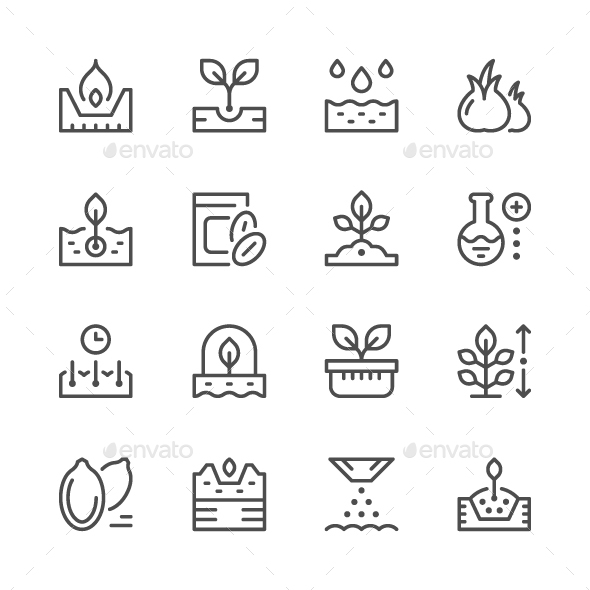 Set Line Icons of Seed and Seedling - Man-made objects Objects
