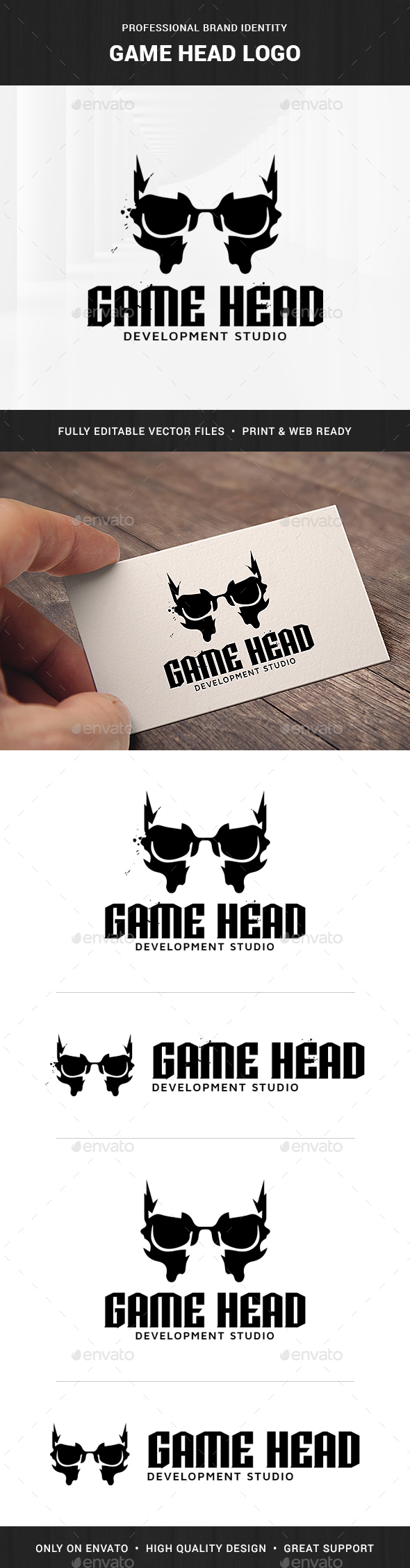 Game Head Logo - Vector Abstract