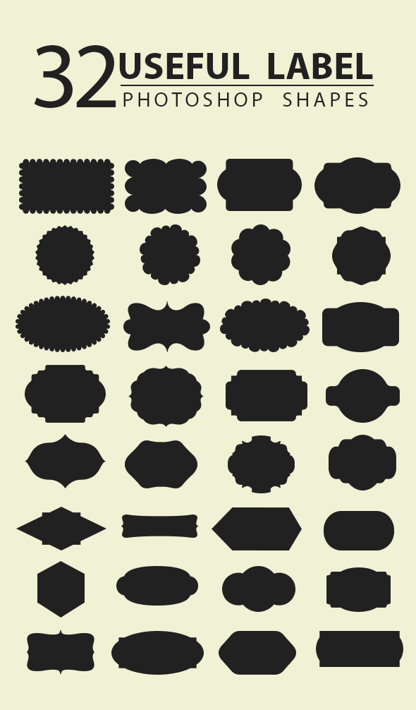 32 Useful Labels Photoshop Shapes - Objects Shapes