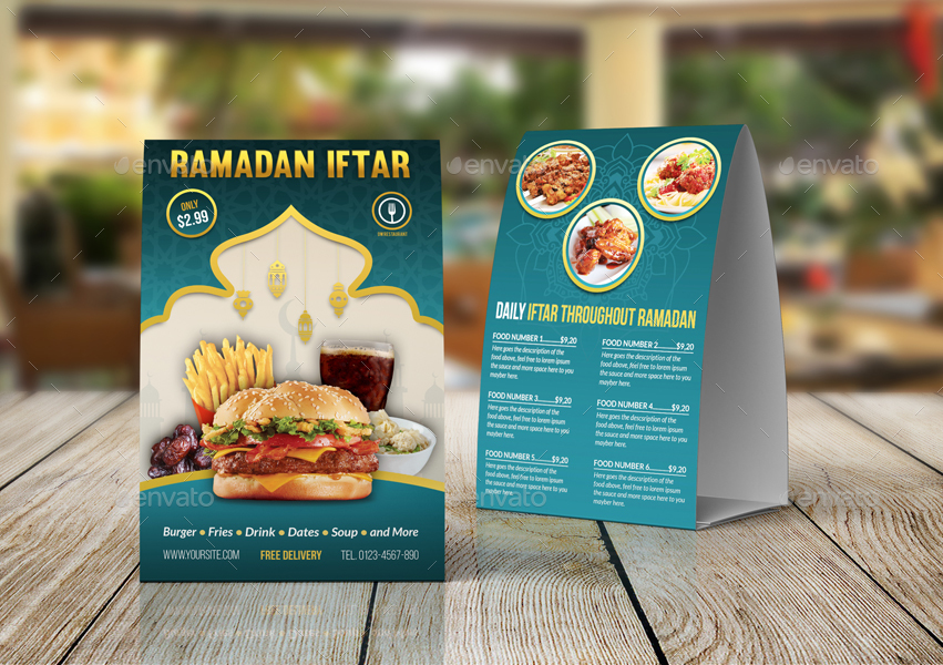 Restaurant Table Tent Template Vol.17 By Owpictures | Graphicriver