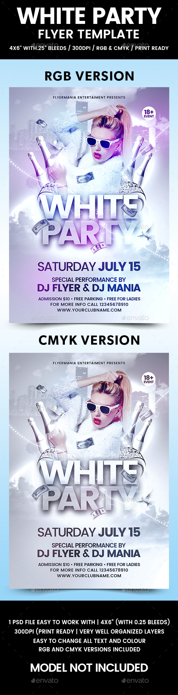 White Party Flyer Template - Flyers Print Templates