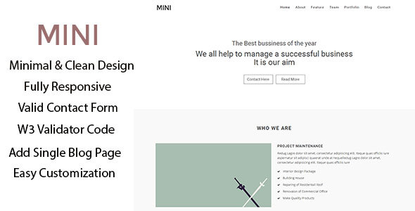 Mini –  Business Minimal Template - Portfolio Creative
