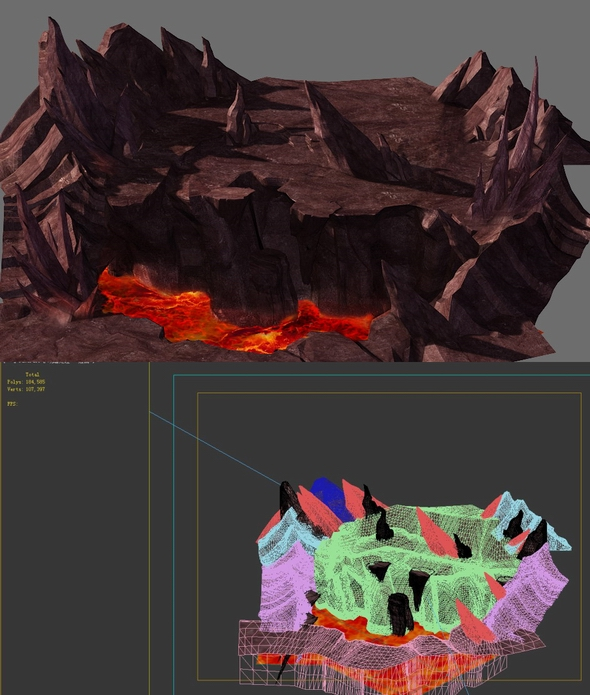 Game Model - Volcano Cliff - 3DOcean Item for Sale